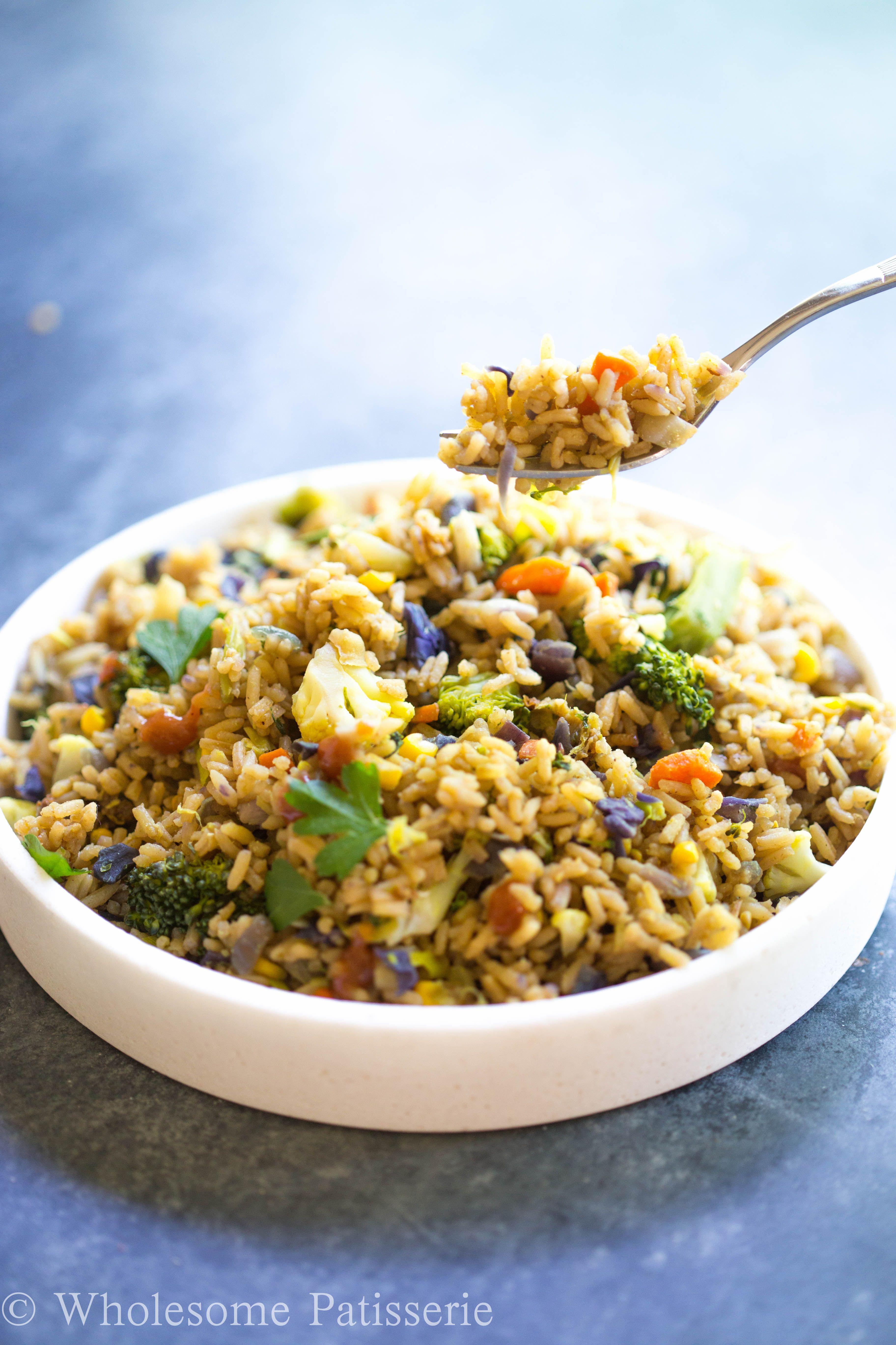 Nasi Goreng Vegetarian : goreng, vegetarian, Vegan, Goreng, Wholesome, Patisserie, Recipe, Vegetarian, Recipes, Healthy,, Recipes,