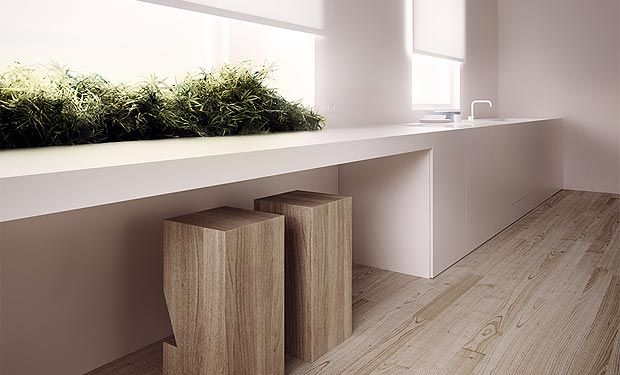 Stretched counter along window with wooden block stools. Render by Tamizo.