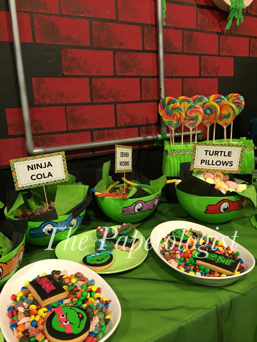 Dessert Table At The Teenage Mutant Ninja Turtle Party Teenage Mutant Ninja Turtles Party Ninja Turtle Birthday Ninja Turtle Party