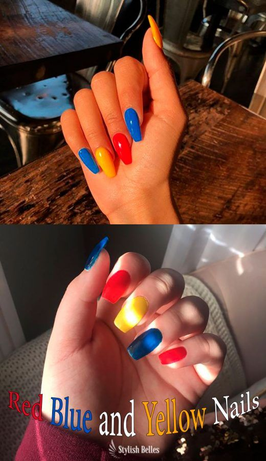 Stunning Coffin Shaped Red Blue And Yellow Nails Rednails Bluenails Yellownails Coffinnails Red Nail Art Red And Gold Nails Red Nail Art Designs