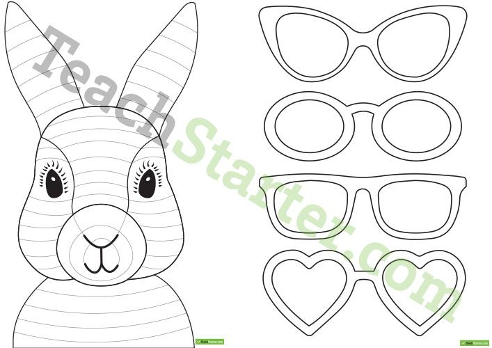 Teaching Resource A Fun Easter Craft Activity Using An Easter Bunny With Funky Glasses Easter Bunny Crafts Easter Bunny Template Funny Easter Bunny