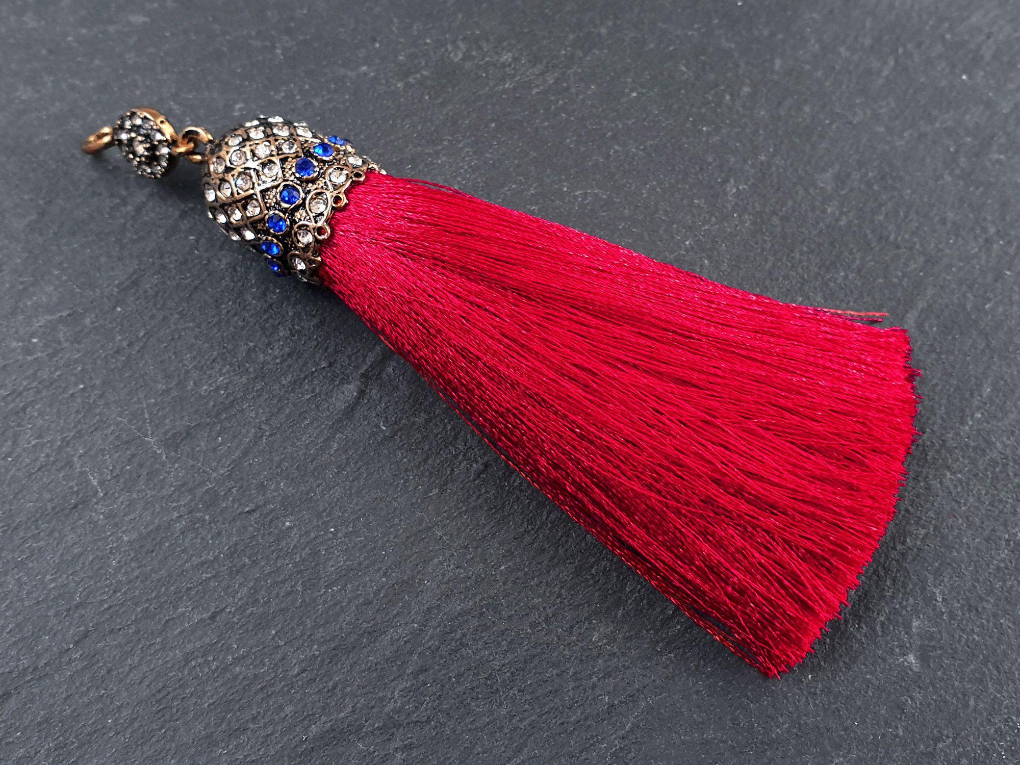 Black silk Tassels Pendant Tassels With Pave Rhinestone Caps DIY necklace Earrings Jewelry tassel Tassel Findings For Jewelry