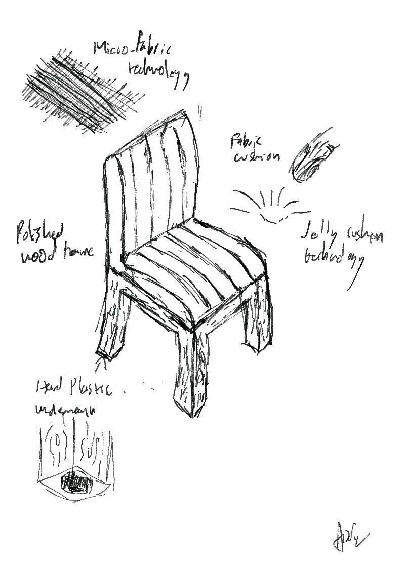 Simple Chair Sketches - A simple dining chair designed for comfort with leather cushion and wooden frame installed in the