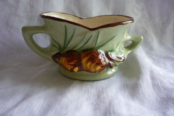 Hand Decorated Pine Cone Sugar Bowl