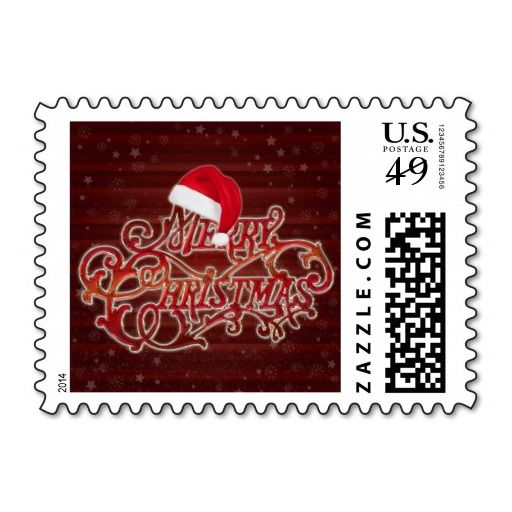 Snowflakes and Christmas hat Merry Christmas Stamp