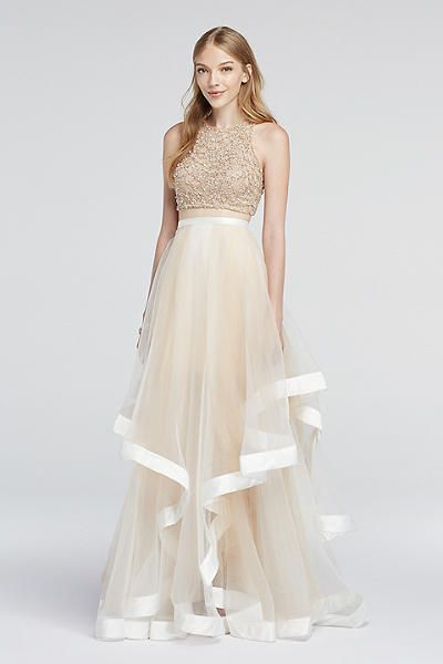 Illusion skirt prom dress