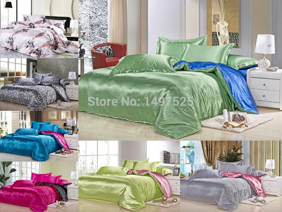 Exceptionnel Custom Size Solid Color Bedding Sets 20% Silk Double Color Twin Full Queen  King Size