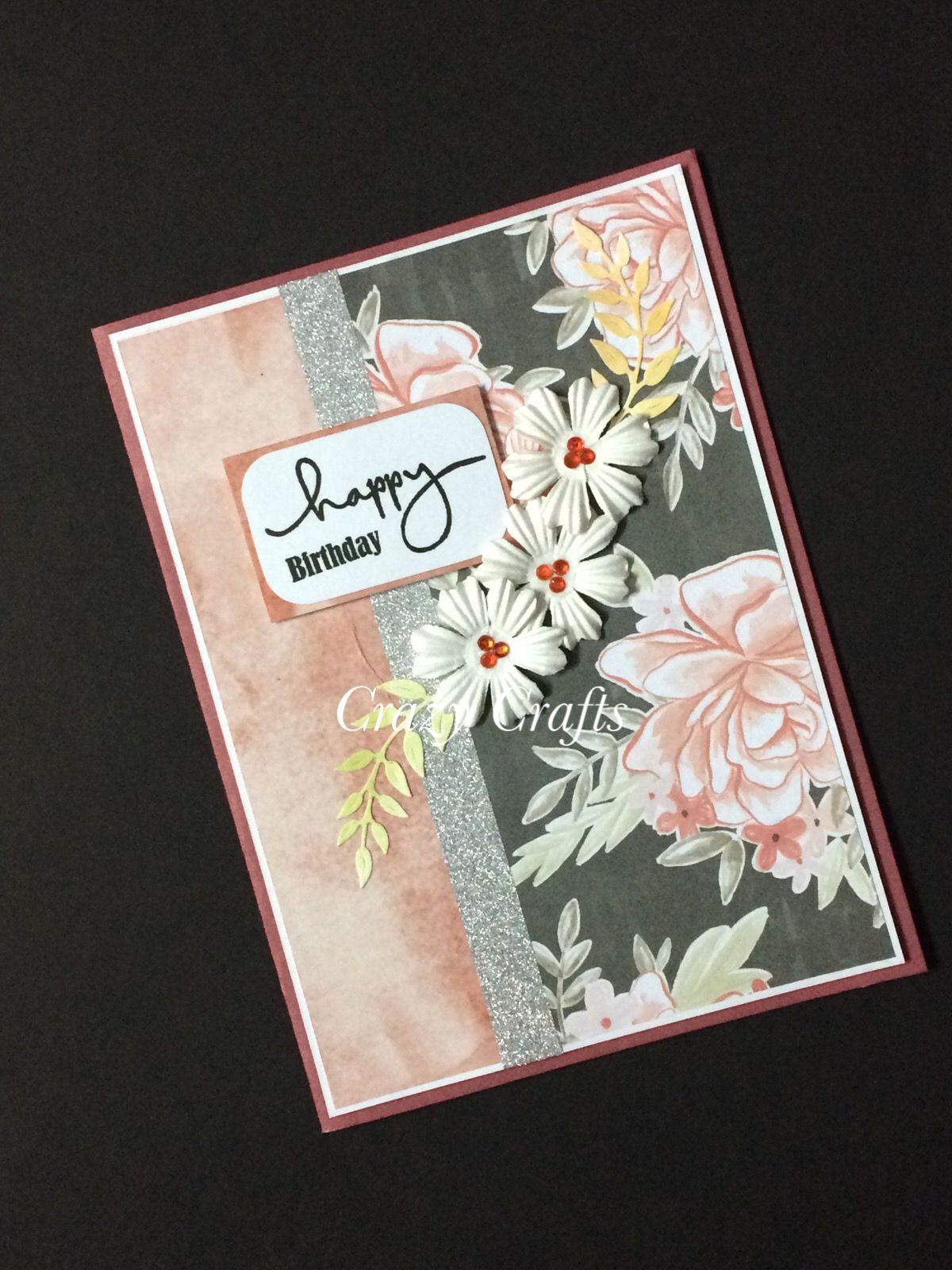 Simple And Elegant Birthday Card Crazy Crafts By Rupali Goyal