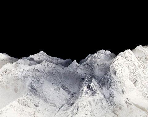 black white sky mountains night