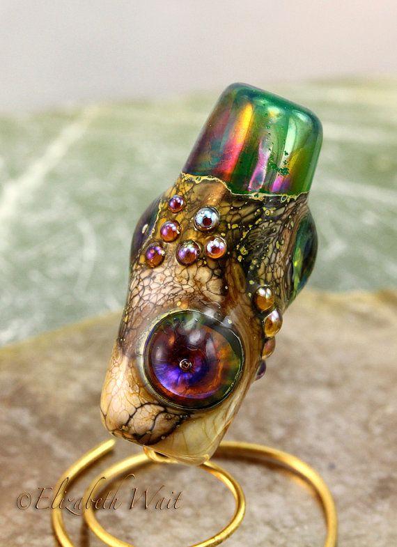 Silvered Ivory Green Focal 486 betsybeads Handmade Glass Beads Lampwork Beads SRA betsymn