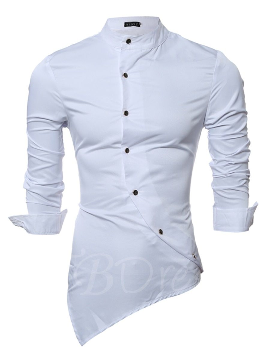 4b79d561ad0cd6 Vogue Irregular Men s Stand Collar Plain Shirt - m.tbdress.com
