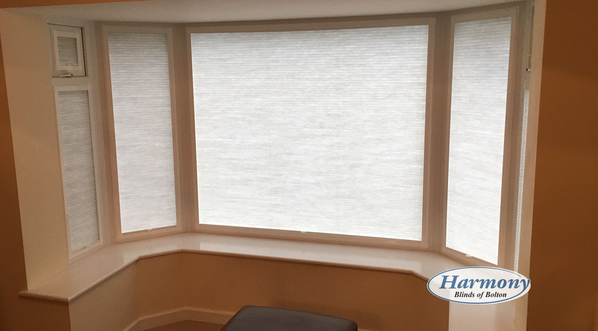 Soft White Perfect Fit Blinds in a Bay Window | Perfect Fit Blinds ...