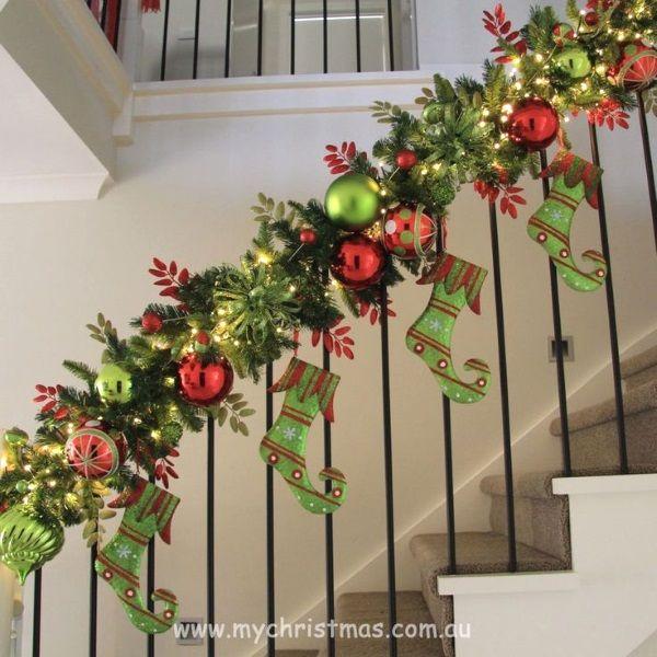 50 Diy Indoor Christmas Decorating Ideas Decoracion Navidena De Escaleras Decoracion Escaleras Navidad Escalera De Navidad