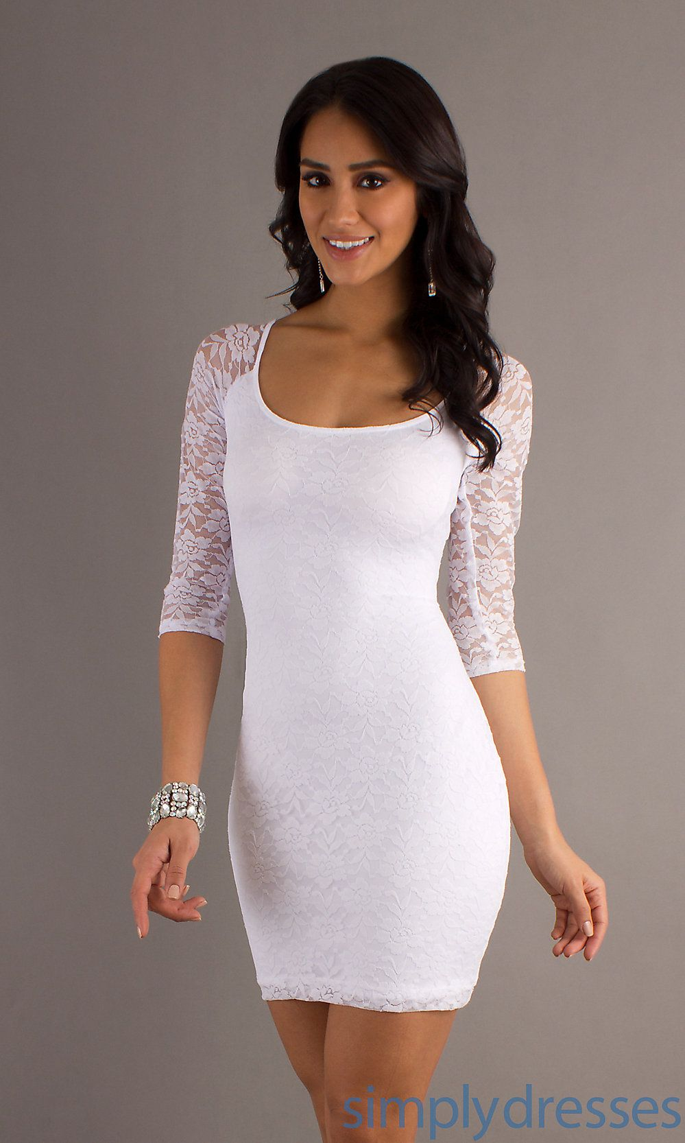 Short White Lace Dress, White Homecoming Dresses - Simply Dresses ...