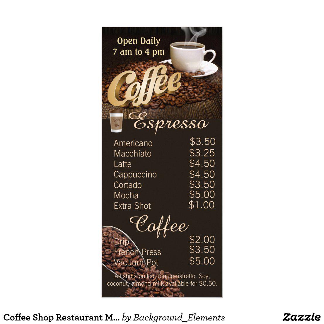 Coffee Shop Restaurant Menu And Price List Zazzle Com In 2020 Coffee Menu Coffee Shop Menu Coffee Shop Menu Board