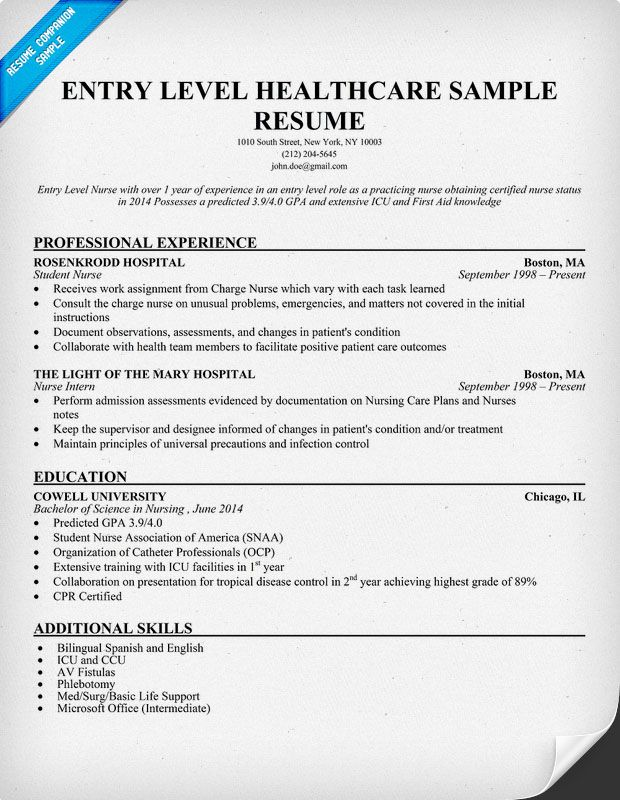 Entry Level Healthcare Resume Example (http\/\/resumecompanion - student nurse resume