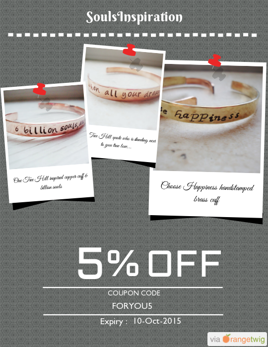 We are happy to announce 5% OFF our Entire Store. Coupon Code: FORYOU5 Click here to view all products:  Click here to avail coupon: https://orangetwig.com/shops/AABJZZL/campaigns/AABZ6ys?cb=2015010&sn=SoulsInspiration&ch=pin&crid=AABZ7PD