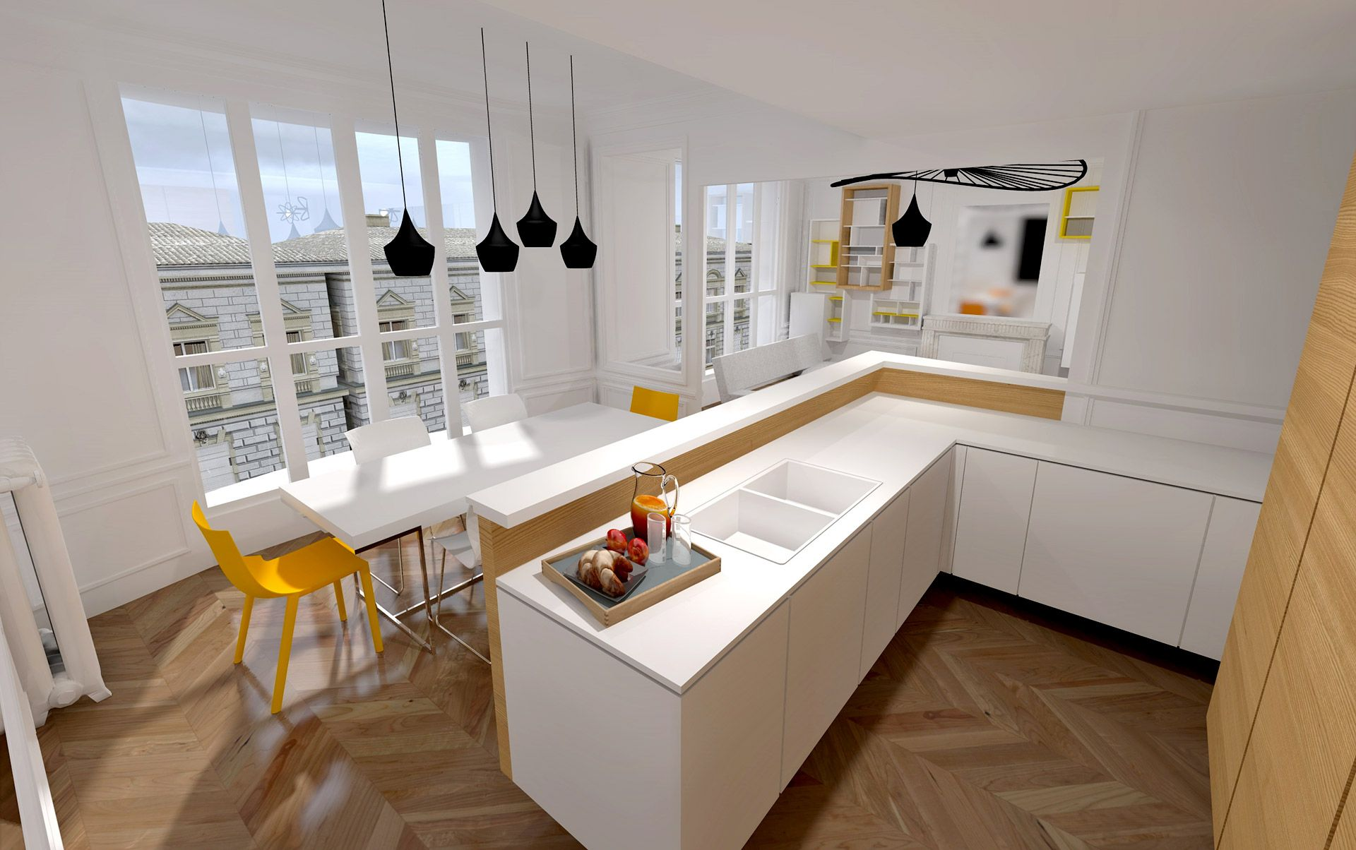 appartement haussmanien 16eme bar agence avous homes have own soul pinterest kitchen home. Black Bedroom Furniture Sets. Home Design Ideas