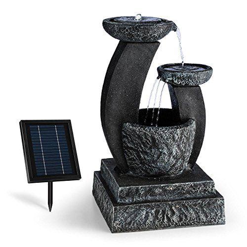Blumfeldt Fontaine décoration jardin 3W solaire LED polyrésine jeu d - fontaine a eau d interieur