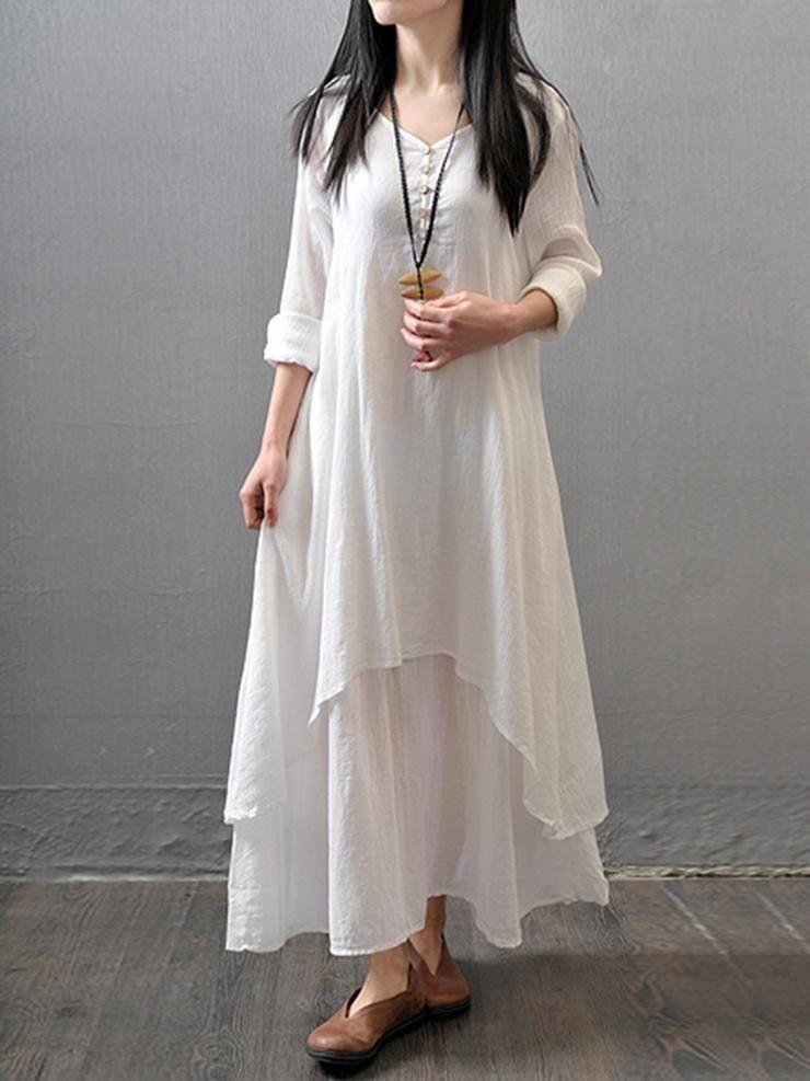 a8acc3dd9d7a5 Casual Asymmetric Long Sleeve Plus Size Maxi Linen Dress