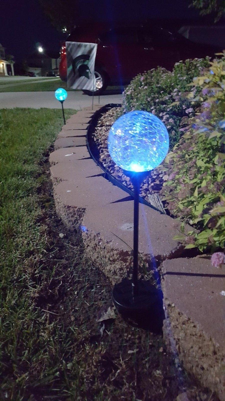 4 Pack Solar Powered LED Diamond Stake Lights Garden Outdoor Fairy Summer Lamp