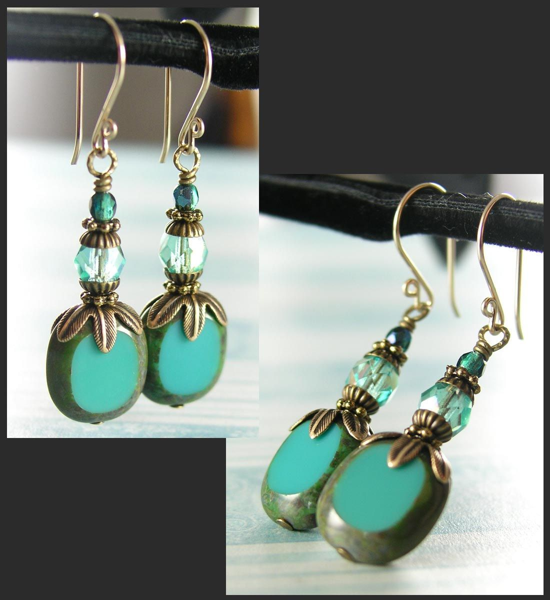 Turquoise Blue Earrings Czech Gl In Vintage Drop Antique Gold Br