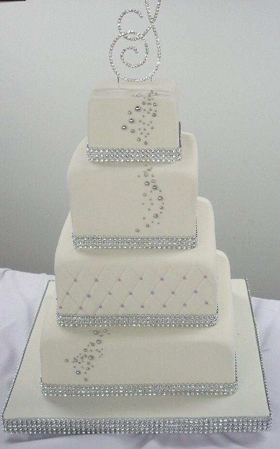 silver wedding cakes   ... cake-4-tiers-sparkle-band-wedding-cake ...