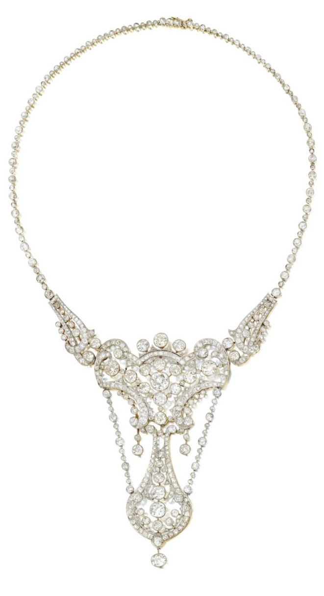 A belle epoque diamond necklace early th century of openwork