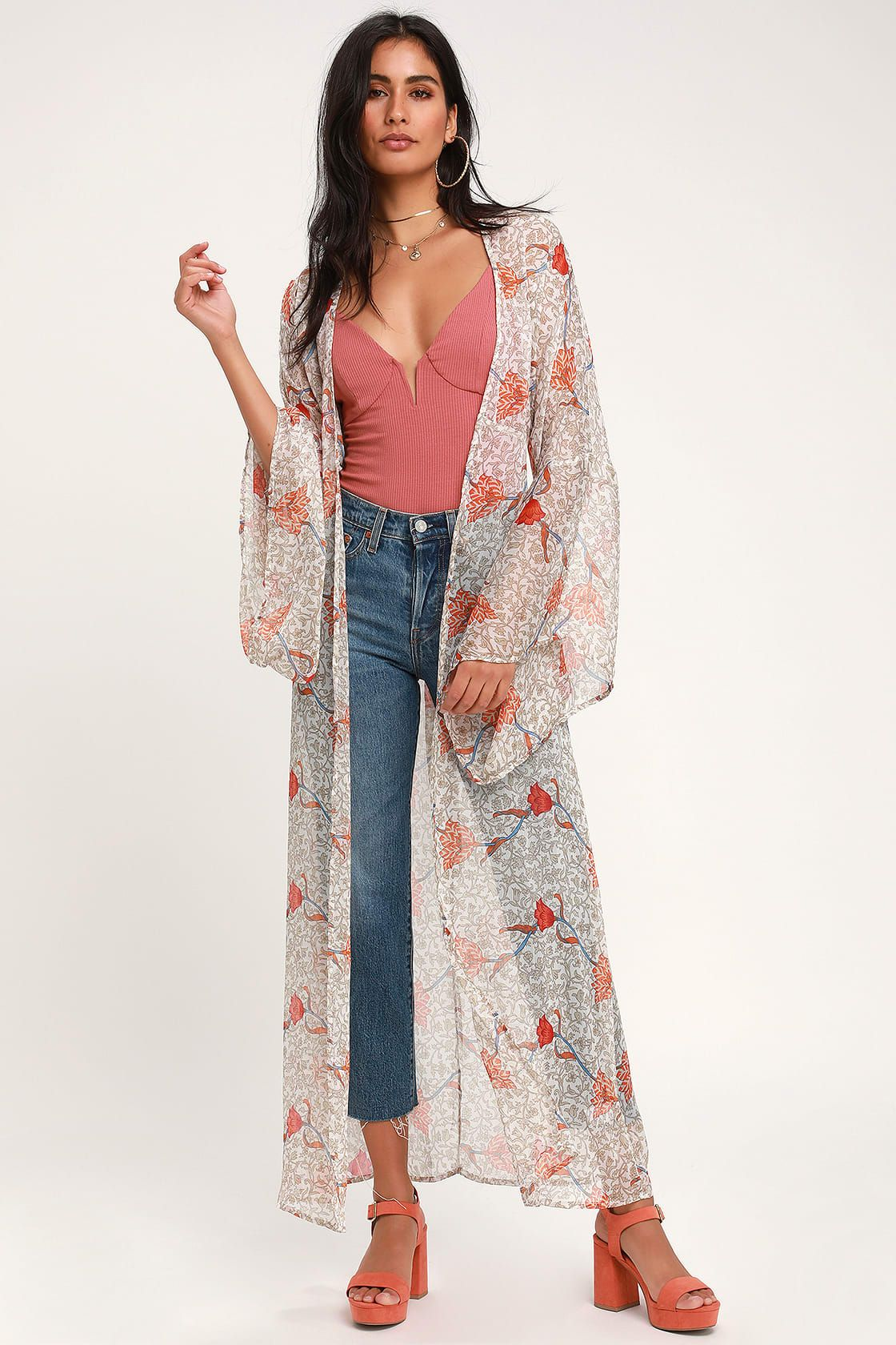 bb1c5089dc96 Dancing Daffodils Taupe Floral Print Chiffon Duster in 2019 ...