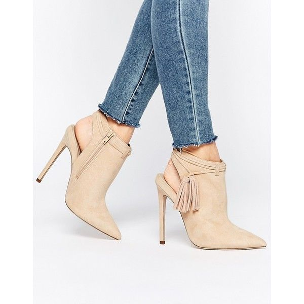 ASOS EUGENIE Pointed Ankle Boots ($28) ❤ liked on Polyvore featuring shoes, boots, ankle booties, beige, pointy toe booties, pointed toe bootie, beige booties, beige ankle booties and tassel ankle boots