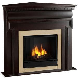 Real Flame Mt Vernon 48 In Corner Gel Fuel Fireplace Dark Walnut