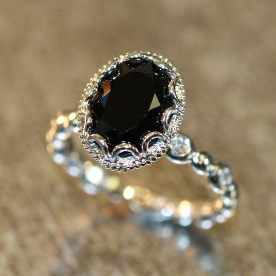 Black Diamond Engagement Rings Oval
