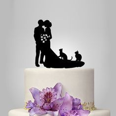 Family Wedding Cake Topper Birde And Groom Silhouette With Two Cats Pets Funny Kissing