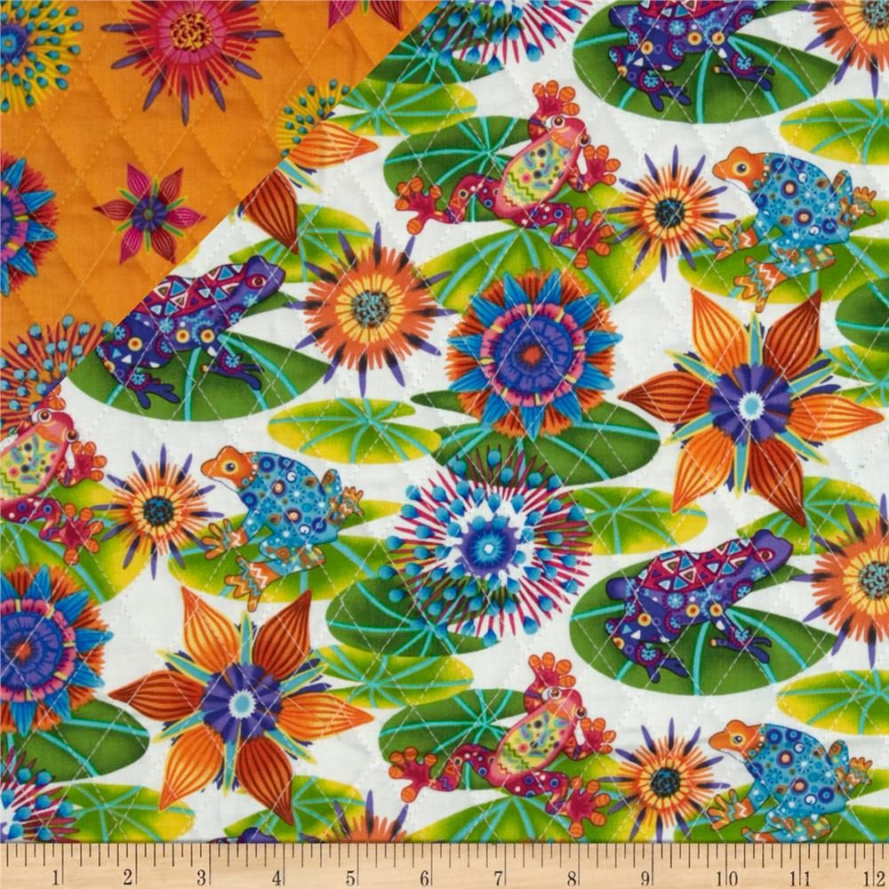 Calypso Double Sided Quilted Frogs from @fabricdotcom Designed by ... : quilted fabric by the yard - Adamdwight.com