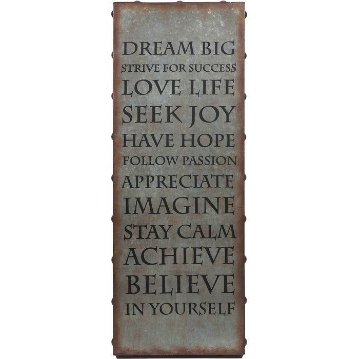 Perfect As An Industrial Focal Point Or In An Eye Catching Vignette This Typographic Decor Bri Inspirational Wall Art Metal Wall Art Decor Galvanized Wall Art
