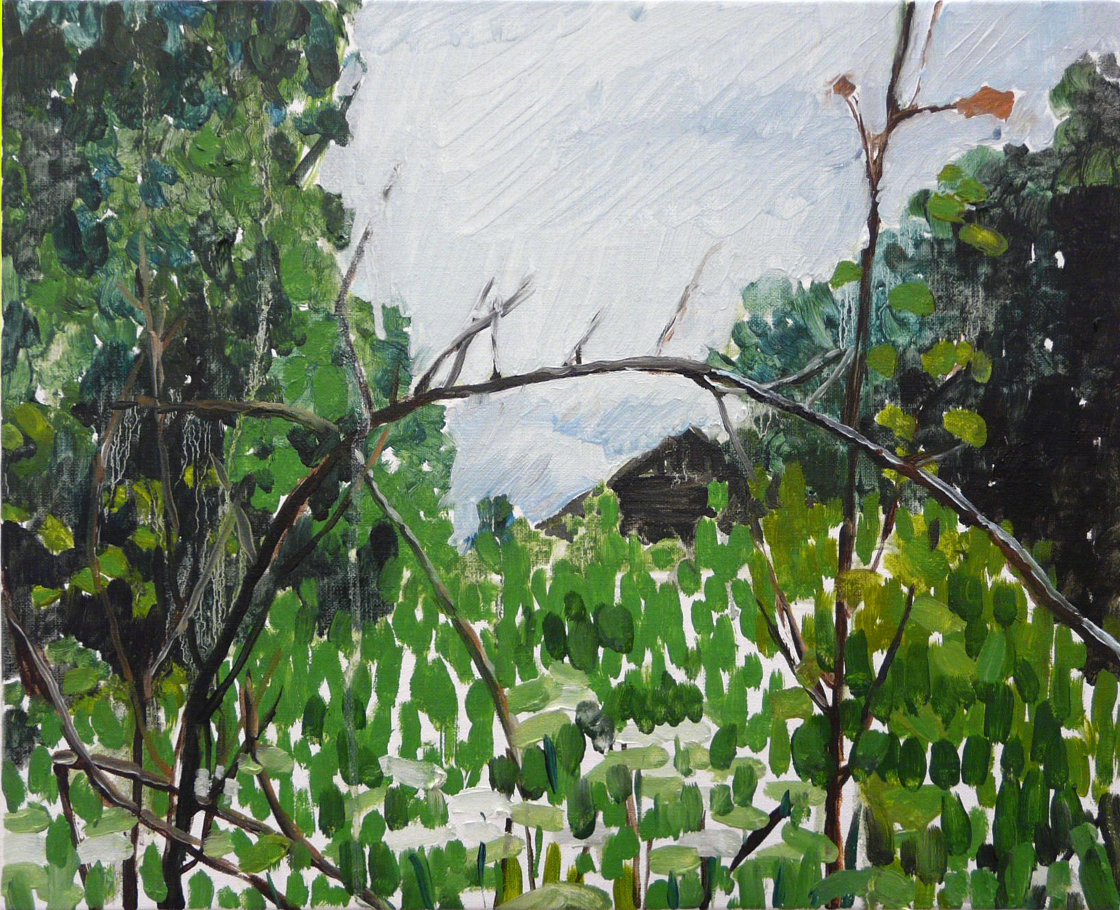 """Mykolé, """"Adomas house (Abandoned)"""", 2013, 33 x 41 cm, Oil, canvas. Contemporary landscape paintings."""