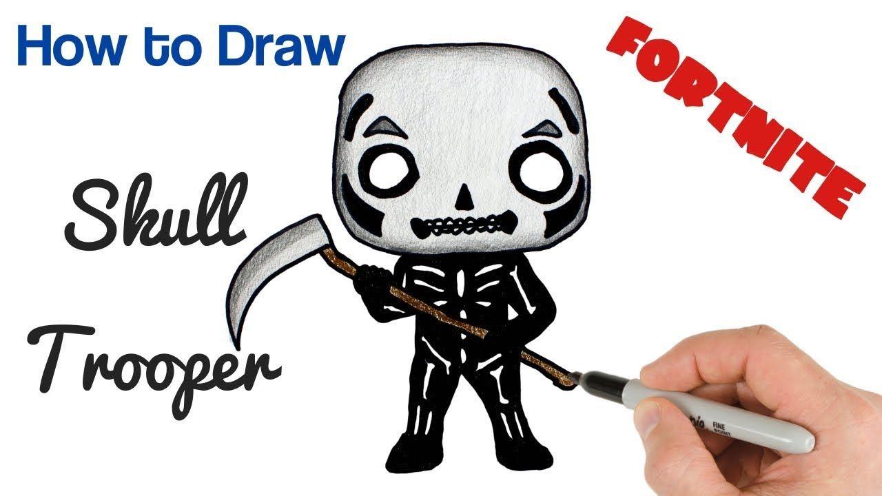 How to draw skull trooper fortnite drawings art tutorial