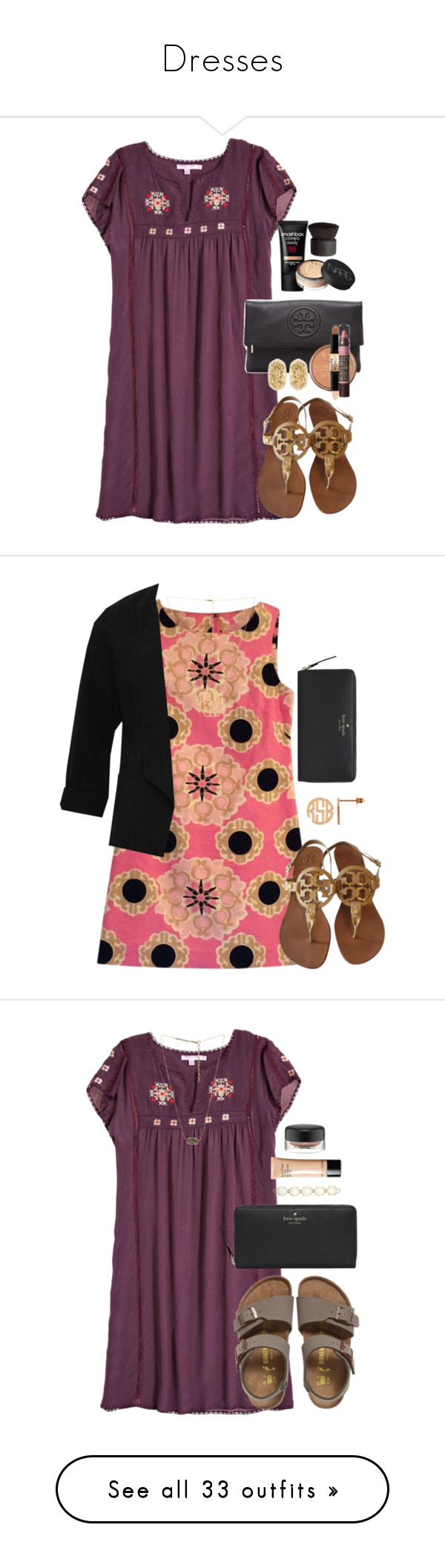 """""""Dresses"""" by liliannalol ❤ liked on Polyvore featuring Calypso St. Barth, Tory Burch, Rimmel, NYX, Burt's Bees, Kendra Scott, Smashbox, NARS Cosmetics, Lilly Pulitzer and M&Co"""