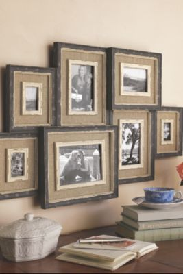 I Want To Do This With Larger Frames For Next To The Fire Place Use Barn Wood Frames And Burlap Soooo Rustic And Perfec Frames On Wall Trending Decor Decor