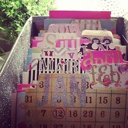 Love this - Great way to stay organized!  Just use scrapbook paper and alphabet stickers