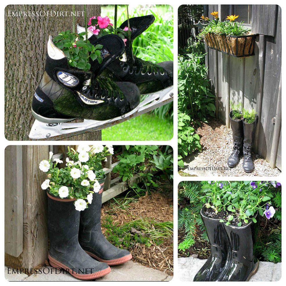 creative and unusual containers for the garden, container gardening, gardening, raised garden beds, repurposing upcycling, succulents, Skates and boots