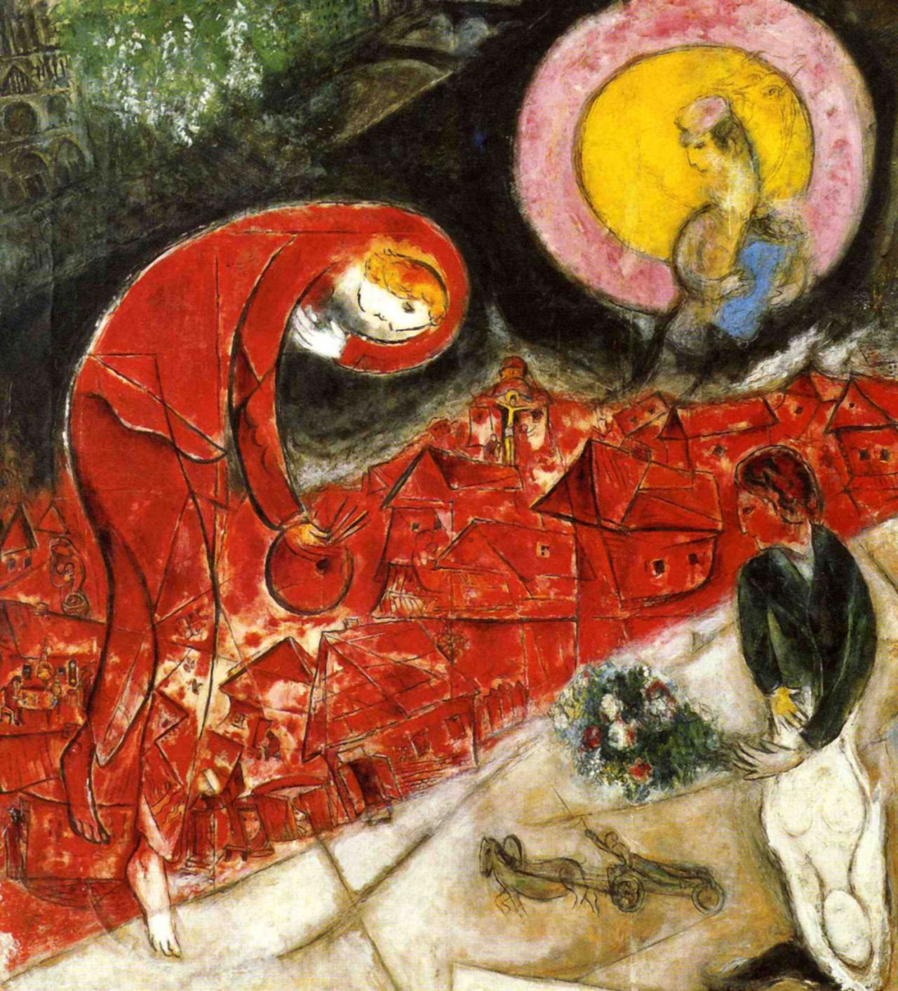 Pinturas De Chagall 1958 Marc Chagall The Red Roofs Marc Chagall Pinterest