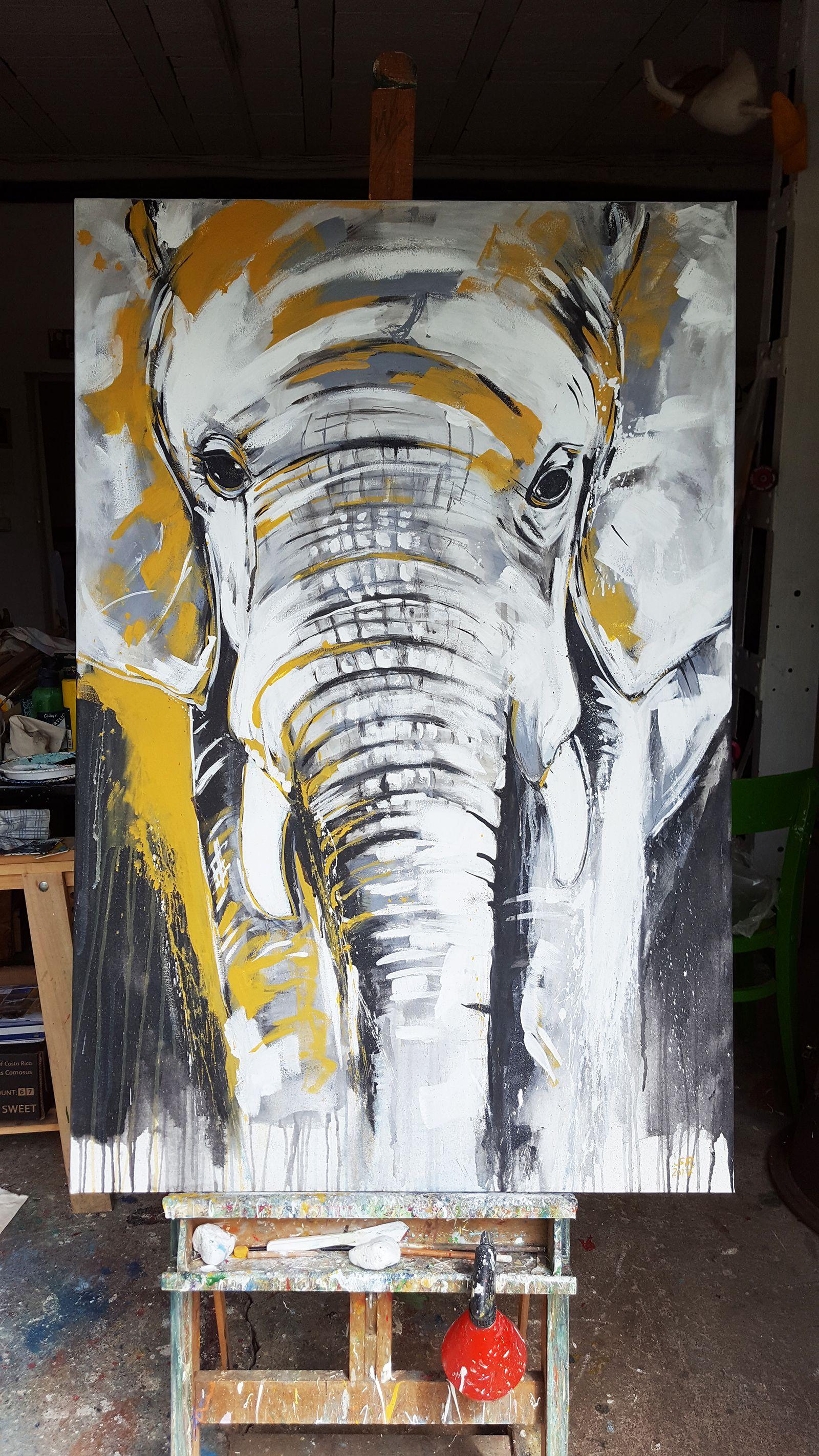 Elefant 2 expressive malerei auf gro formatiger leinwand in meinem atelier malerei - Elefanten bilder auf leinwand ...