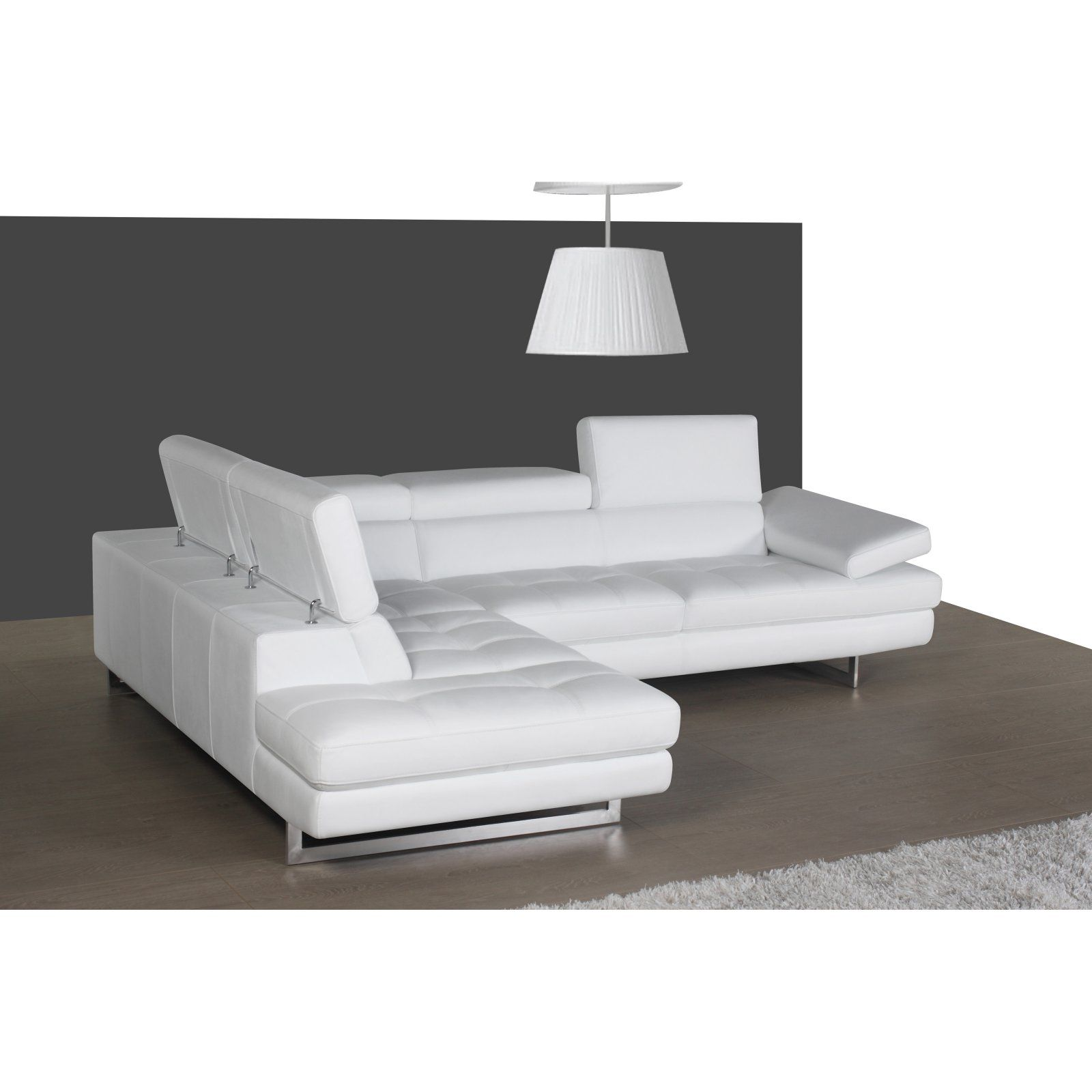 J M Furniture A761 Left Facing Chaise Sectional Sofa White Leather Sectional Sectional Sofa Furniture