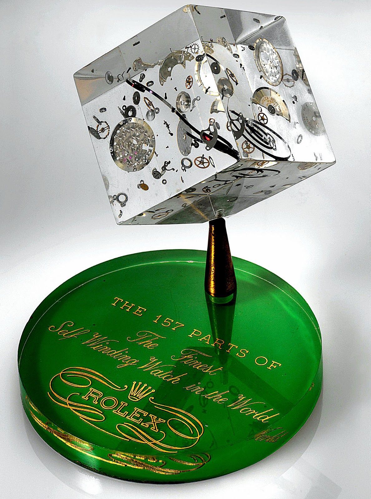 Rolex Movement Floating In An Acrylic Cube 157 parts