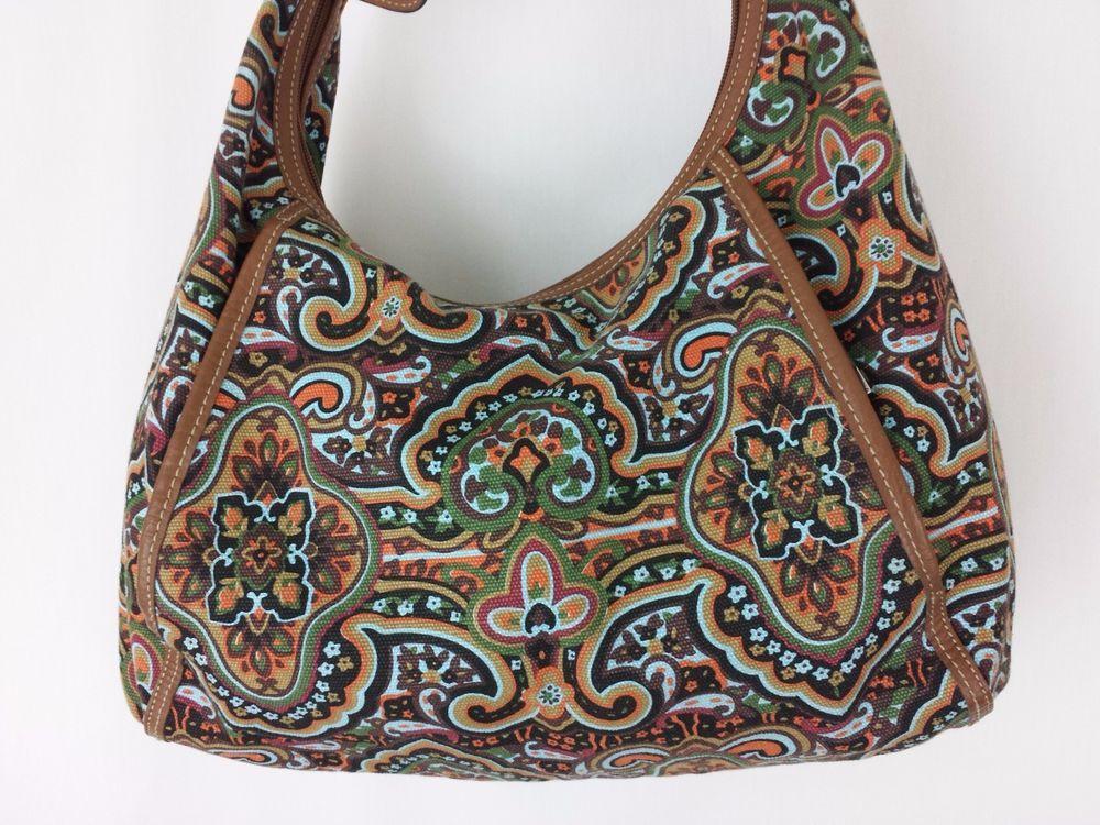 Tignanello Bag Purse Paisley blue orange green Fabric #Tignanello #ShoulderBag