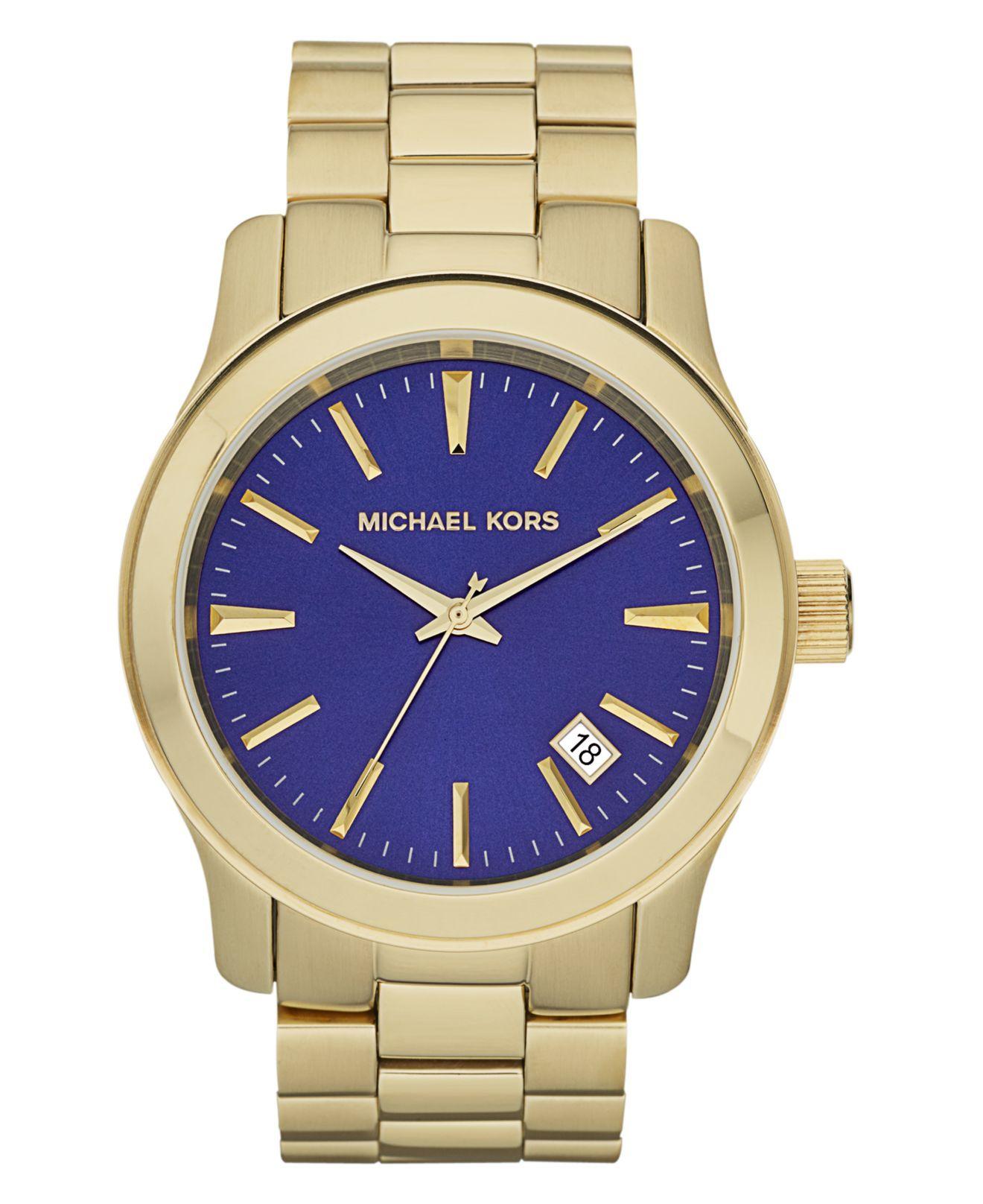 Michael Kors Watch, Men\u0027s Runway Gold Tone Stainless Steel Bracelet 45mm  MK7049 - For Him