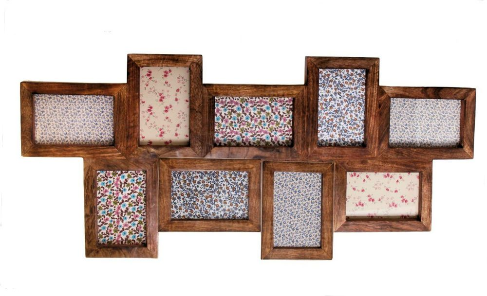 Large Wooden Collage 9 Nine Photo Frame Picture Multi Wood Chic ...