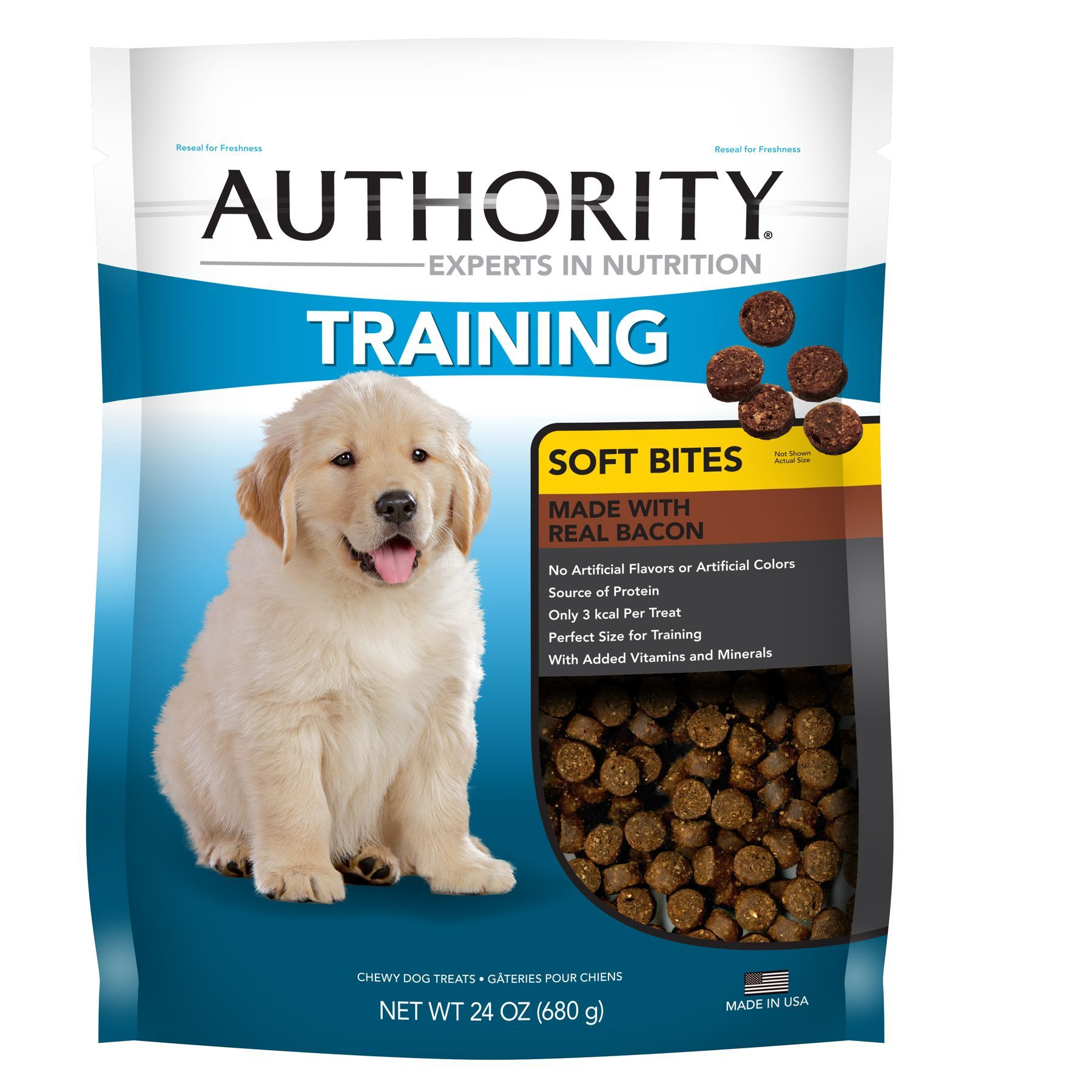 Authority Training Soft Bites Dog Treat Bacon Size 24 Oz Adult