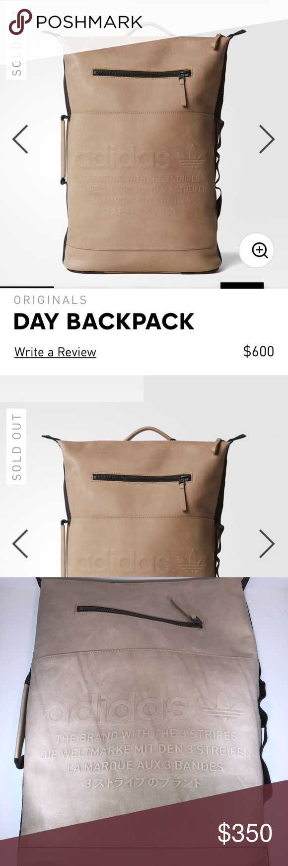 60c6e2258 Adidas Original NMD Day Cardboard Leather Backpack New With Tags. Adidas  Originals NMD Day Cardboard (Color) Backpack Premium Leather   Suede One  Size ...